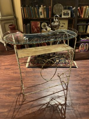 32x15x31 antique vintage shabby white wash romantic iron and glass vanity Victorian style makeup vanity dresser table. Romantic. Perfect size for an for Sale in Buda, TX