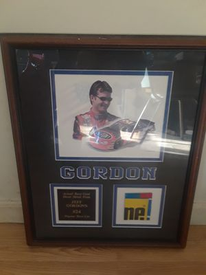 Jeff Gordon picture with an actual piece of sheet metal from a race driven car for Sale in Olivette, MO