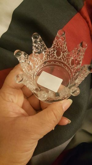 Cute small Crystal crown candle holder ring for Sale in Perris, CA