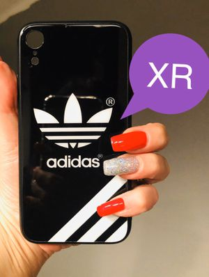 Brand new cool iphone XR case cover rubber tempered glass back Adidas army black & white case mens guys hypebeast hype swag for Sale in San Bernardino, CA