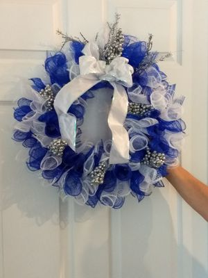 Cobalt blue and white wreath for Sale in Fort Wayne, IN