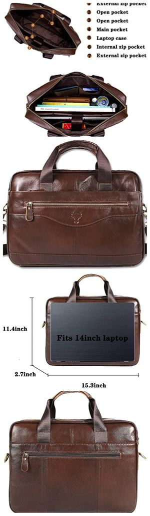 Men's Leather Briefcase 14 inch Laptop Bag Messenger Bag for Men with Shoulder Strap for Sale in Davie, FL