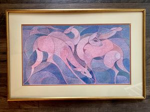 • vintage mid century mcm pastels wall hanging framed art • for Sale in Issaquah, WA