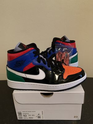 Air Jordan 1 Mid Multi-Color Black Patent Leather Womens Size 10 / Mens Size 8.5 (Pick Up) for Sale in Sunrise, FL