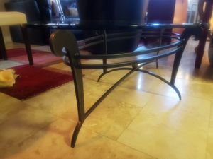 Oval cocktail table metal and glass for Sale in El Cajon, CA