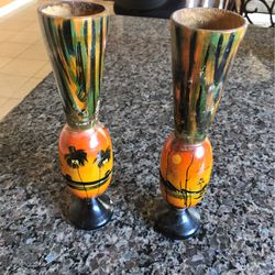 Pair Of Wood Hand Painted Flower Vases. for Sale in Concord,  CA