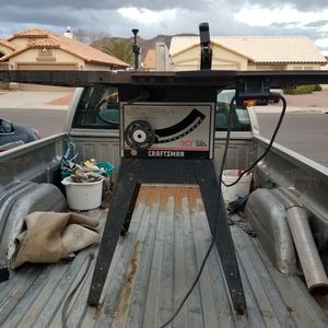 Full size Sears Craftsman Deluxe Flex Drive table saw with stand. Mitre, fence and blade guard. for Sale in Glendale, AZ