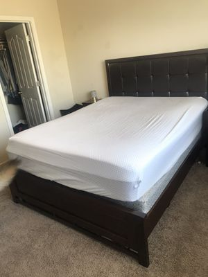 Queen size bed frame, box spring & mattress for sale. Nightstand also available for Sale in Visalia, CA
