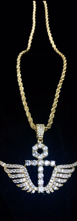 ANKH WINGS FULL DIAMONDS CZ 18K GOLD ROPE CHAIN MADE IN ITALY for Sale in Miami Beach, FL