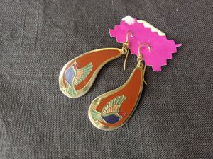 Vintage Laurel Burch Earrings Enameled Birds Dangle Drop Currant & Multi Color for Sale in Alpharetta, GA