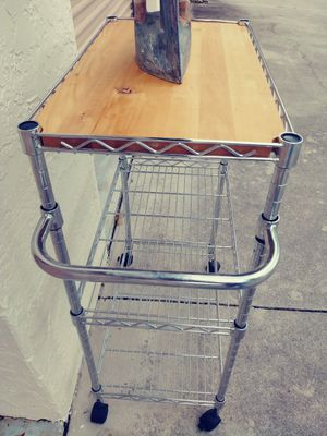 Metal kitchen cart with cutting board option for Sale in Fort Myers, FL