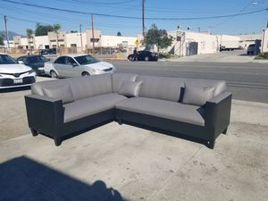 NEW 7X9FT CHARCOAL LEATHER COMBO SECTIONAL COUCHES for Sale in Fontana, CA