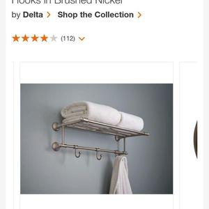 24 in. W Towel Shelf with 3-Towel Hooks in Brushed Nickel for Sale in Chandler, AZ