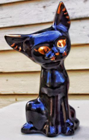 "9"" mid century modern ceramic black cat figurine 9x4"" ! Unmarked. for Sale in Saginaw, MI"