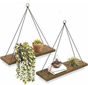 Wall Hanging Shelf - Set Of 2 Wood Hanging Shelves for Sale in Woodland Hills, CA
