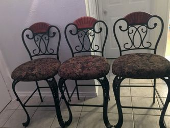 3 New Rod Iron Bar Stools w/beautiful dark floral material for Sale in Grand Prairie,  TX