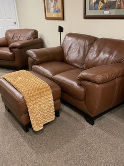 Leather Loveseat Chair and Ottoman for Sale in Bowie,  MD