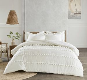 """KING/CALI KING 3-pc comforter set in a soft ivory with Pom Pom design by Madison Park. 104"""" x 92"""". Retails $146. Asking $100 + sales tax for Sale in Woodstock, GA"""