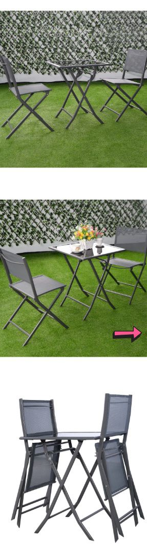 NEW (3 Piece) Contemporary Outdoor Bistro Set - Patio Home Folding Chairs & Top Glass Table - Stackable Seat Garden Pool Poolside Furniture - ↓READ↓ for Sale in Chula Vista, CA
