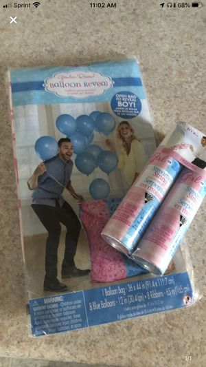 Gender reveal balloon for boy and spray can girl for Sale in Richmond, VA