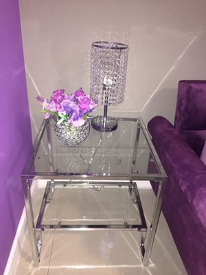 Crystal lamp & chrome finish 2 shelve end table for Sale in Baltimore, MD