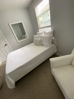 BRIGHT white full bed frame, mattress and memory foam topper for Sale in Mission Viejo, CA
