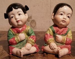 Pair of Vintage Seymour Mann Porcelain Asian Piano Babies for Sale in Florissant, MO