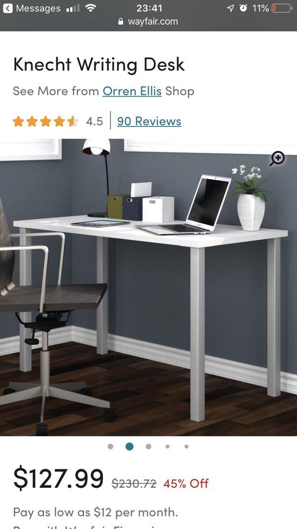 Knecht Writing Desk, White Finish, Square Leg Type