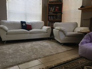 White couch and captains chair; plush, comfy - Free Delivery for Sale in Spring, TX