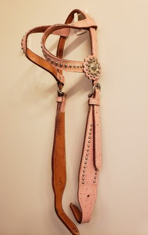 Horse pink double ear ostrich print leather headstall for Sale in Chandler, AZ