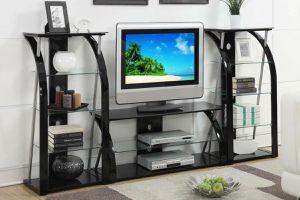 3PC ENTERTAINMENT CENTER- $399 DESCRIPTION 3pc includes = TV Stand & 2 Media Shelfs Experience home entertainment with a TV stand and media shelf for Sale in Chino, CA