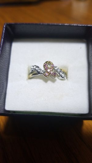 Size 7 breast cancer awareness ring 925 silver for Sale in Phenix City, AL