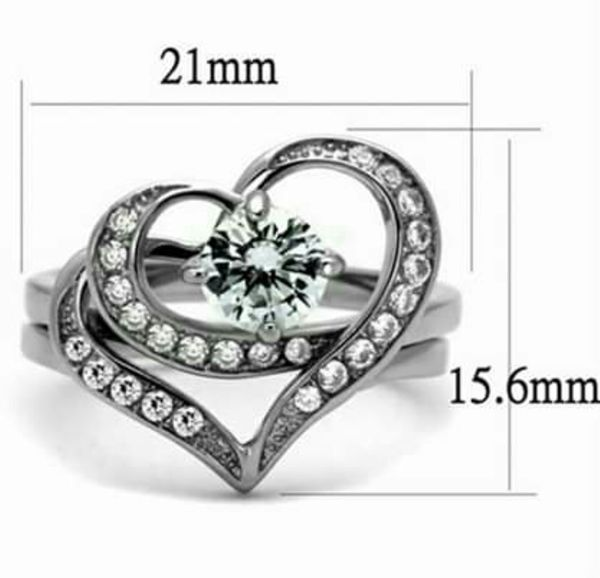 Stainless Steel CZ Heart Wedding Ring Set