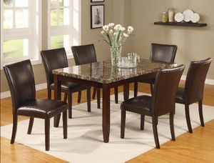 Ferrara Brown Faux Marble Rectangulgivar Dining Set | 2221 for Sale in Jessup, MD