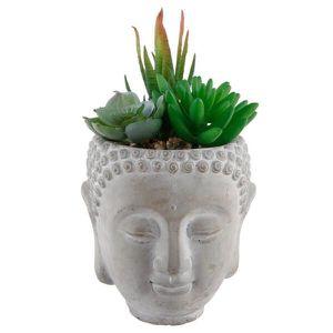 Flora Bunda 8 in. Faux Succulent Mix in Cement Budda Planter for Sale in Phoenix, AZ