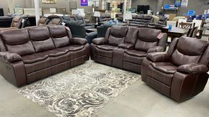 New Brown Air Leather Reclining Living Room Set $39 down 🚚 NO CREDIT CHECK for Sale in Houston, TX