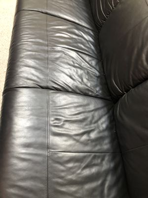 Black leather couch with ottoman for Sale in San Jose, CA