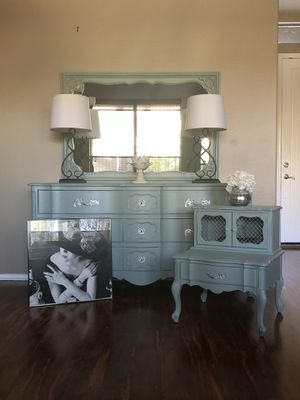 Solid wood vintage farmhouse French provincial dresser nightstand buffet end table for Sale in Glendale, AZ