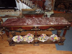 Huge 78 inches marble and cherrywood sofa table for Sale in Las Vegas, NV
