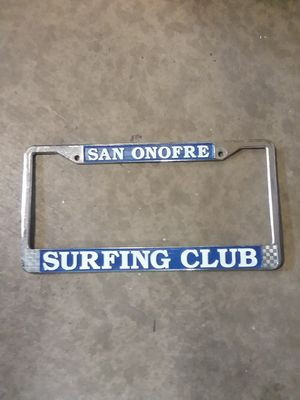 San Onofre Surf club license plate frame SURFBOARD for Sale in Murrieta, CA
