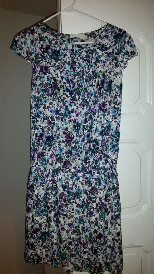 purple and turcoi floral scoop neck midi dress