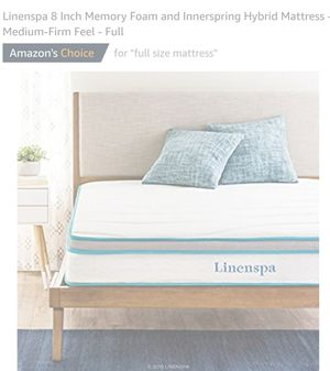 New Linenspa 8in Innerspring &Memory Foam Mattress Full for Sale in Canal Winchester, OH