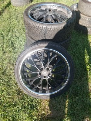 22 inch black rims with new tires 19 inch rims with slightly used tires for Sale in Columbus, OH