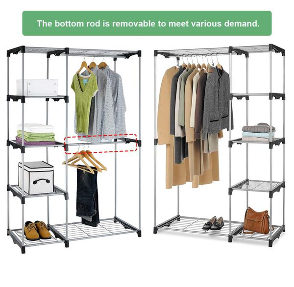 Hanging Closet Organizer and Storage Heavy Duty Clothes Sturdy Metal