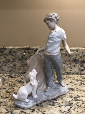 Lladro boy with dog standing figurine for Sale in Naperville, IL