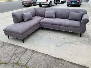 NEW 7X9FT CHARCOAL MICROFIBER SECTIONAL CHAISE for Sale in Burbank, CA