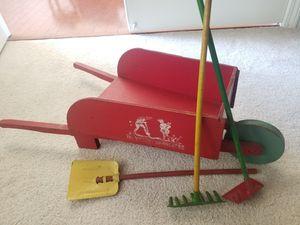 Antique WW1 Childs Toy Garden Set w wheelbarrow and original tools! for Sale in Zionsville, IN
