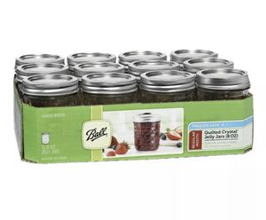 Ball Regular Mouth Quilted Crystal Canning Mason Jelly Jars 12 Pack 8 oz for Sale in Inglewood, CA