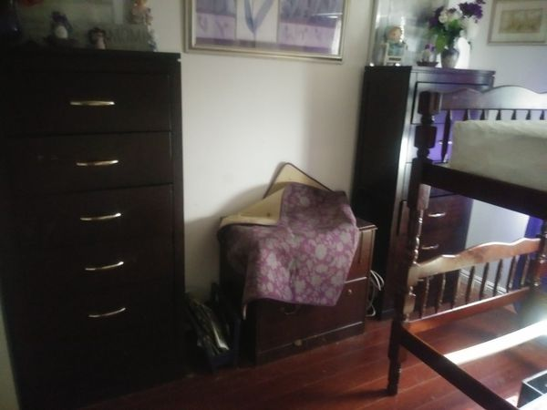 Cherry wood bunk beds(2mattress) and cherry wood tall 6 drawer dressers $600 Samsung 55 in. $300. Brown leather Futon $150 cherry. Wood tv stand $150