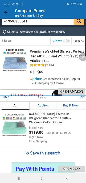 """Premium Weighted Blanket, Perfect Size 60"""" x 80"""" and Weight (12lb) for Adults and Children. Deluxe CALMFORTER Blanket. Price Includes Cover! for Sale in Reno, OH"""